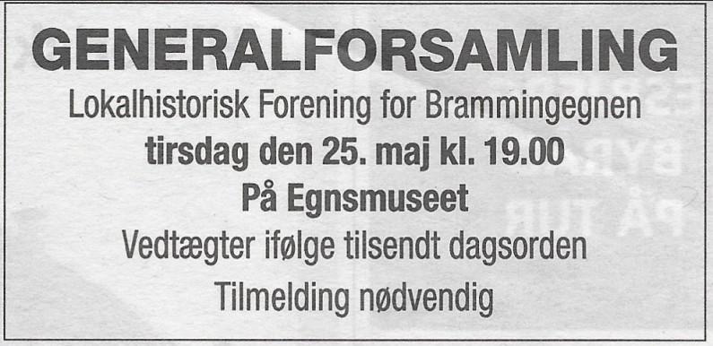 Annonce for generalforsamling
